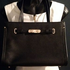 COACH All Leather Black Handbag Tote Carryall